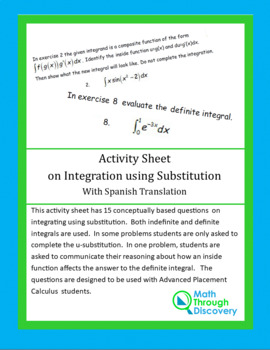Activity Sheet on Integration using Substitution