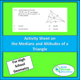 Activity Sheet on Medians and Altitudes of a Triangle