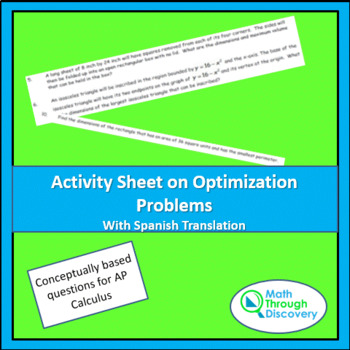 Activity Sheet on Optimization Problems