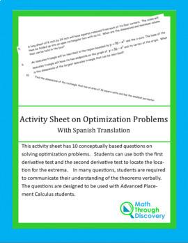 Activity Sheet on Optimization Problems