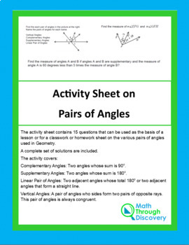 Activity Sheet on Pairs of Angles