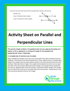 Activity Sheet on Parallel and Perpendicular Lines