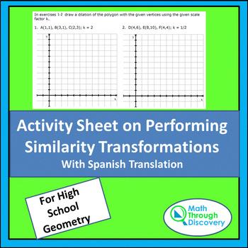 Activity Sheet on Performing Similarity Transformations