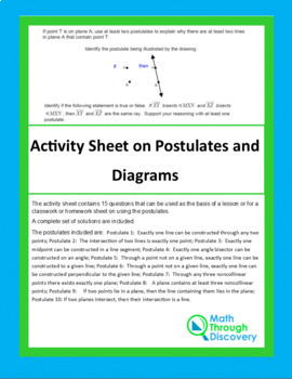 Activity Sheet on Postulates and Drawings