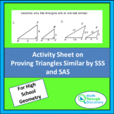 Activity Sheet on Proving Triangle Similar by SSS and SAS
