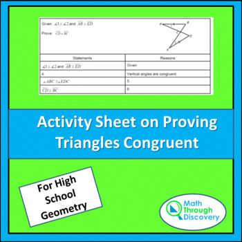 Activity Sheet on Proving Triangles Congruent