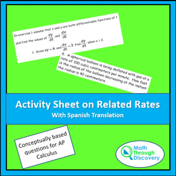 Activity Sheet on Related Rates