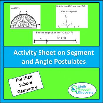 Activity Sheet on Segment and Angle Postulates