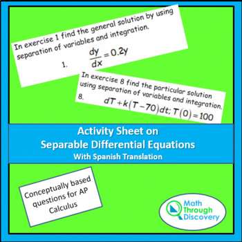 Activity Sheet on Separable Differential Equations