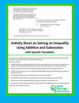 Activity Sheet on Solving Inequalities Using Addition and Subtraction