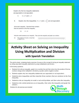 Activity Sheet on Solving Inequalities using Multiplication and Division