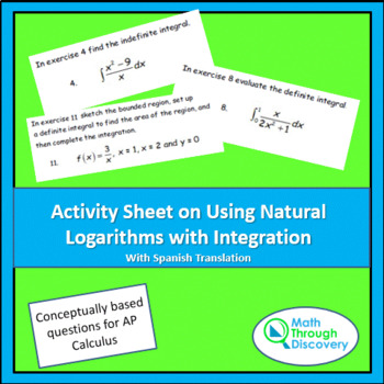 Activity Sheet on Using Natural Logarithms with Integration