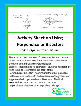 Activity Sheet on Using Perpendicular Bisectors