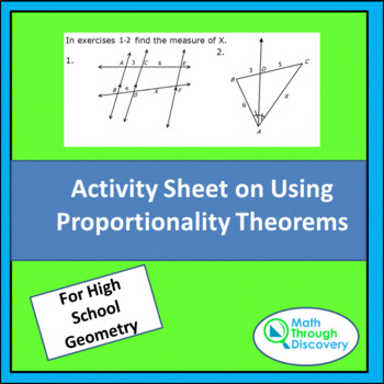 Activity Sheet on Using Proportionality Theorems
