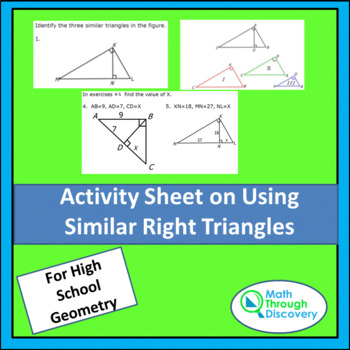 Activity Sheet On Using Similar Polygons By Math Through Discovery Llc