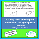 Activity Sheet on Using the Converse of the Pythagorean Theorem