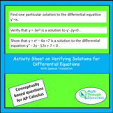 Calculus - Activity Sheet on Verifying Solutions for Diffe