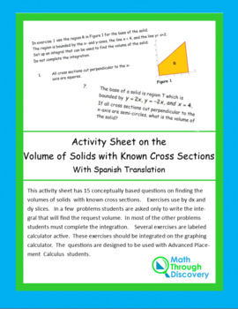 Activity Sheet on Volume of Solids with Known Cross Sections