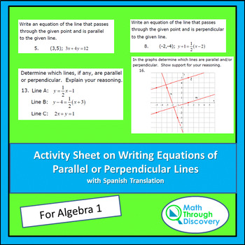 Activity Sheet on Writing Equations of Parallel or Perpendicular Lines
