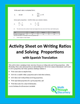 Activity Sheet on Writing Ratios and Solving Proportions