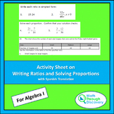 Algebra 1 - Activity Sheet on Writing Ratios and Solving P
