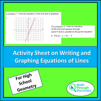 Activity Sheet on Writing and Graphing Equations of Lines