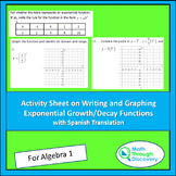 Activity Sheet on Writing and Graphing Exponential Growth-Decay Functions