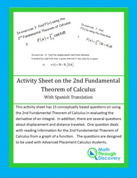 Activity Sheet on the 2nd Fundamental Theorem of Calculus