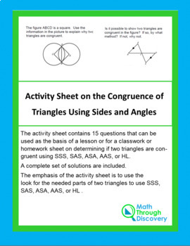 Activity Sheet on the Congruence of Triangles Using Sides and Angles