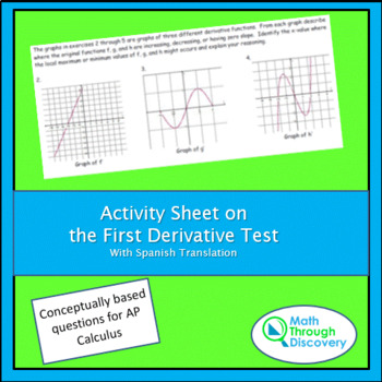 Activity Sheet on the First Derivative Test