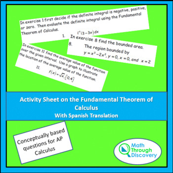 Activity Sheet on the Fundamental Theorem of Calculus   TpT