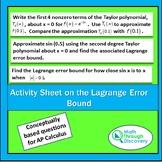 Calculus - Activity Sheet on the Lagrange Error Bound