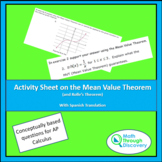 Activity Sheet on the Mean Value Theorem