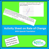 Activity Sheet on the Rate of Change