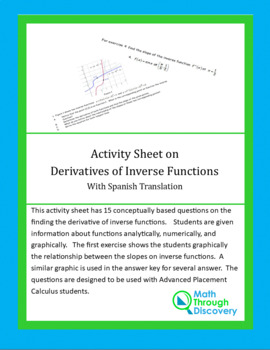 Activity Sheet with Derivatives of Inverse Functions