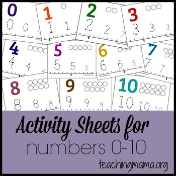 Activity Sheets for Numbers 0 -10