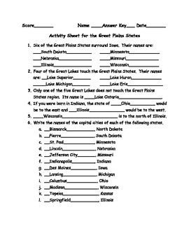 Activity Sheets for the Six State Regions of the US
