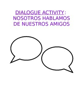 Activity Sp1-Sp2 - Oral Dialogue Template: Create Script About Best Friends