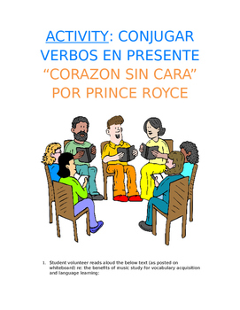 """Activity Sp1, Sp2, Sp3 - Present Song Cloze: Prince Royce """"Corazón sin cara"""""""