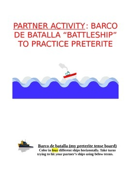 Activity Sp1 or Sp2 - Barco de batalla for Spanish ABC, Numbers, and Preterite