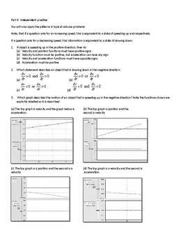 Activity Speeding up or slowing down using calculus methods