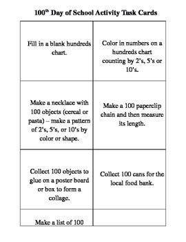 Activity Task Cards for the 100th Day of School