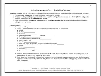 "Writing:31 Activities - ""March Maneuvers ""Swing into Spring'"""