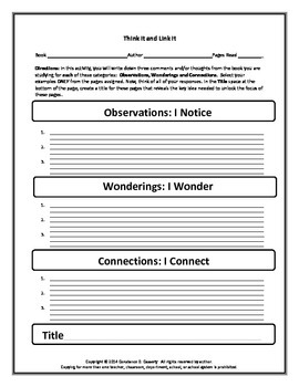 Comprehension Analysis Activity: Think It and Link It