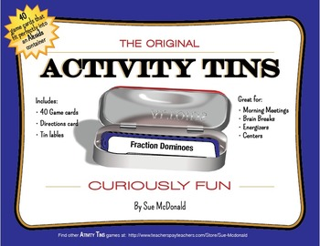Activity Tins - Fraction Dominoes - A Game for Grades 2, 3, 4, 5, 6