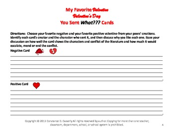 Valentine's Day Comprehension Activity: You Sent What??? Cards