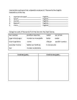 Activity Vocabulary Practice Worksheet
