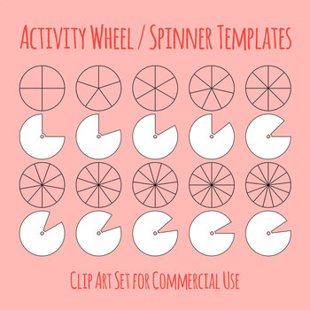 Activity Wheel Templates - Spinner Clip Art for Commmercial Use
