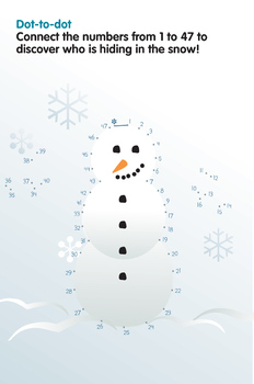Activity Worksheets - Connect the dots - Snowman