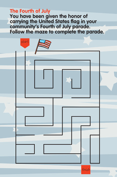 Activity Worksheets - Fourth of July Maze